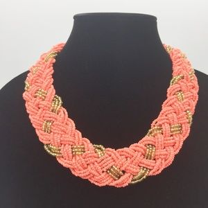Braided Seed Bead Collar Necklace G22